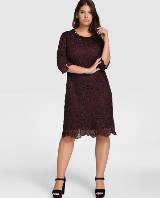vestidos-de-fiesta-tallas-grandes-otono-invierno-2017-encaje-marron