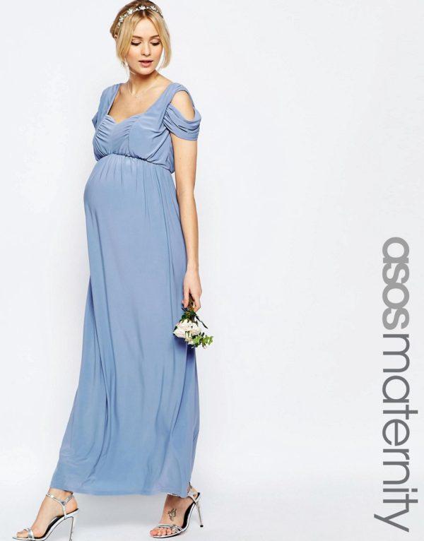 vestidos-de-fiesta-premama-para-embarazadas-asos-largo-drapeado-sin-hombros