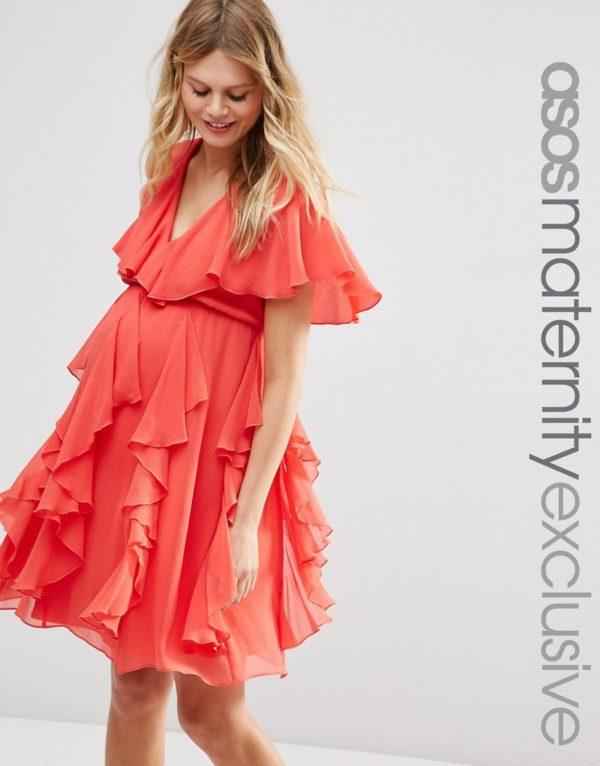 vestidos-de-fiesta-premama-para-embarazadas-asos-naranja-cruzado