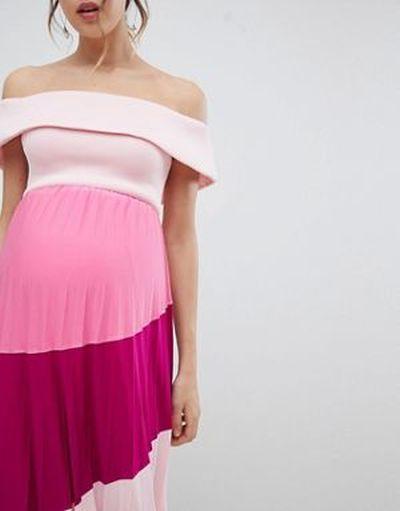 vestidos-de-fiesta-premama-para-embarazadas-midi-plisado-neopreno-diseno-colour-block-asos
