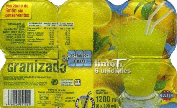 Helado sin azúcar añadido granizado de limón Mercadona