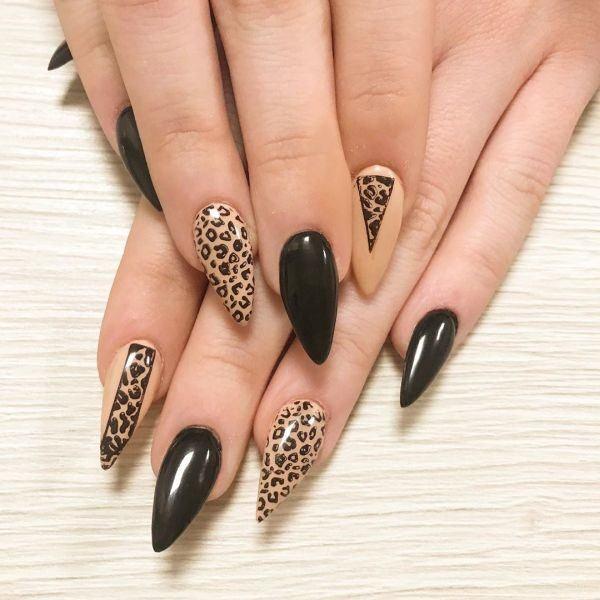 unas-decoradas-animal-print-stiletto-negro-leopardo-instagram