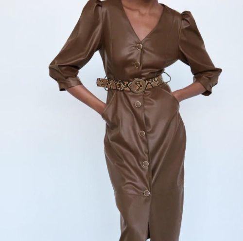 Vestido efecto piel Zara Otoño Invierno 2021 - 21