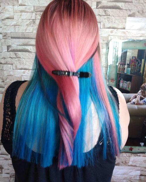 Melena larga recta bicolor rosa y azul