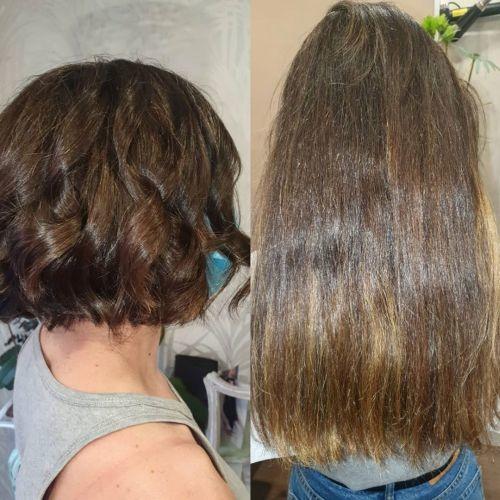 Mujer pelo corto y pelo largo
