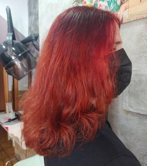 Corte degradado con color rojizo