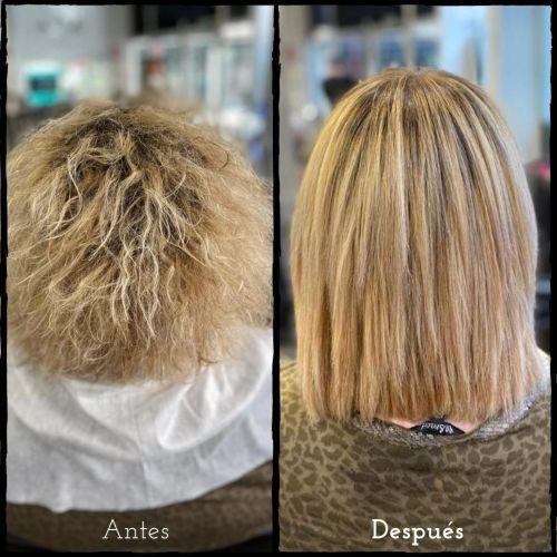Corte de pelo con degradado y alisado