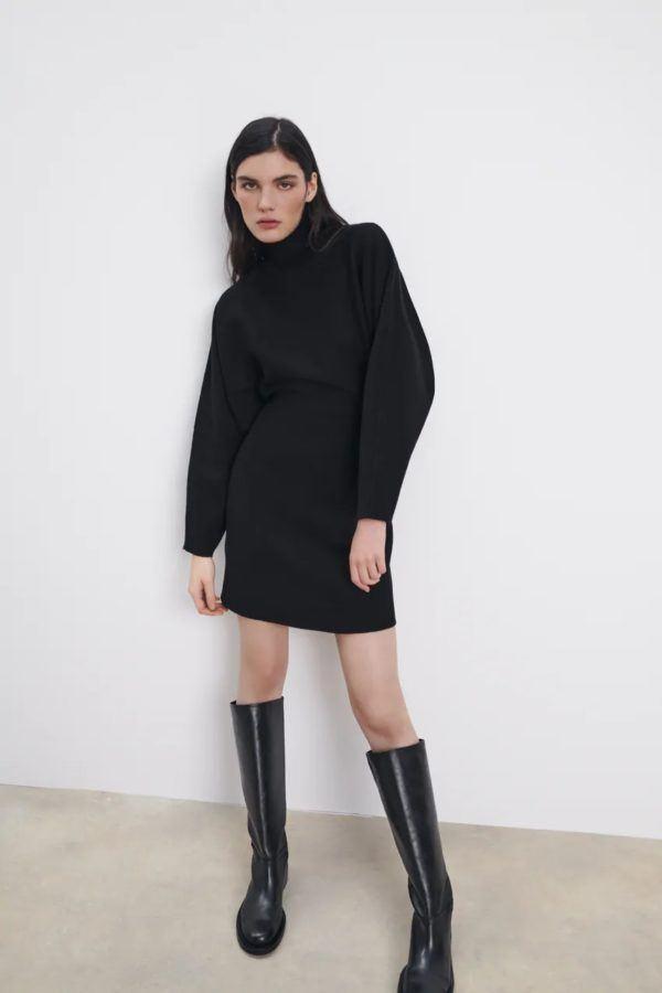 Estilos de vestidos vestido 2021 CINTURA ALTA zara negro