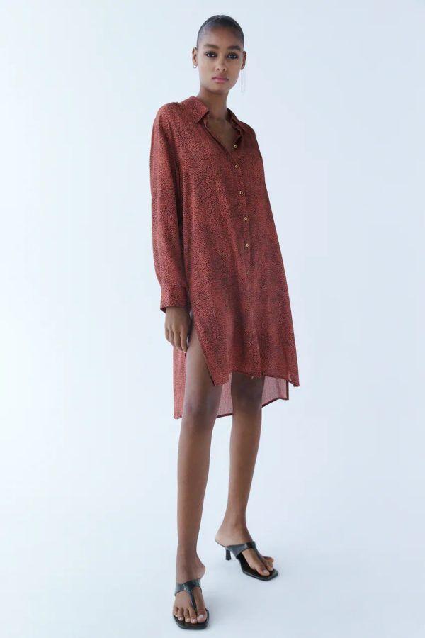 Estilos de vestidos vestido 2021 ablusado zara rojo