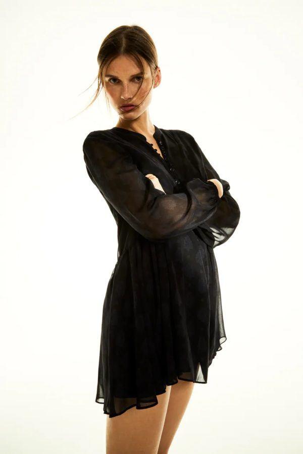 Estilos de vestidos vestido 2021 asimetrico zara negro estampado