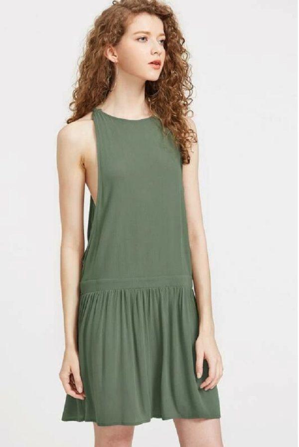 Estilos de vestidos vestido 2021 cintura baja shein verde