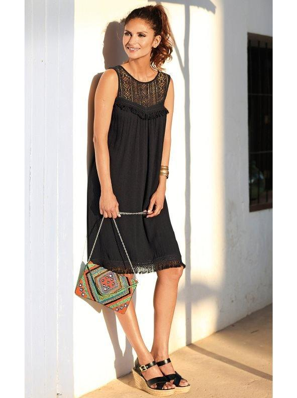 Estilos de vestidos vestido 2021 vestido canesu venca de encaje y pasamaneria negro