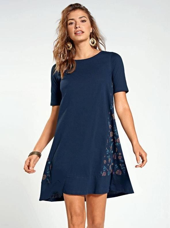Estilos de vestidos vestido 2021 vestido evase VENCA con paneles estampados marino