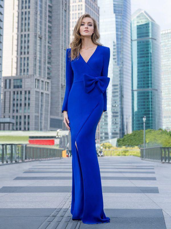 Vestidos de dama de honor largo pronovias azul lazo
