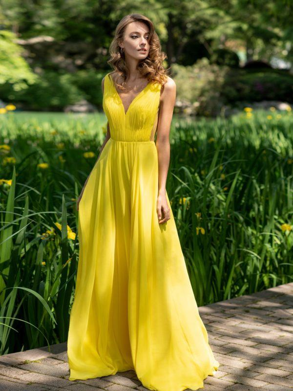 Vestidos de dama de honor largo pronovias color amarillo