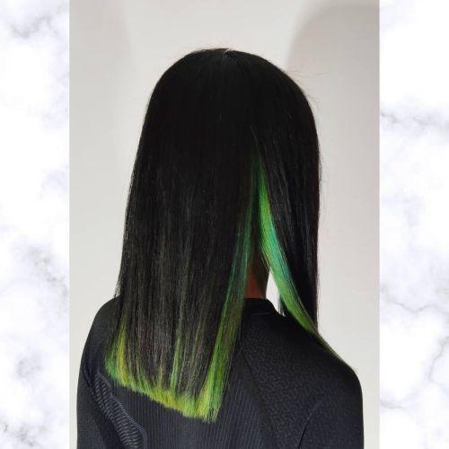Pelo largo bicolor puntas verdes