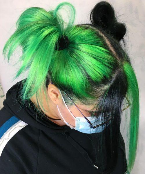 Pelo bicolor verdes