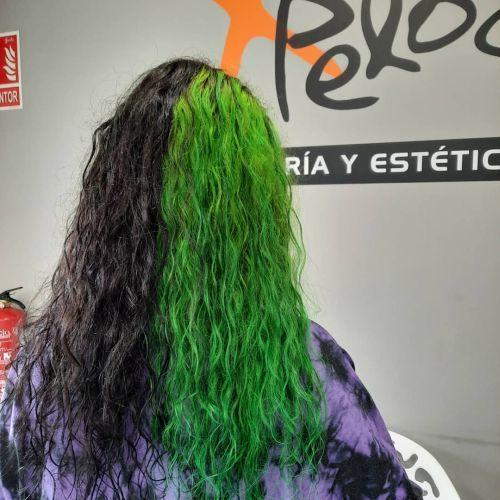 Pelo bicolor negro-verde