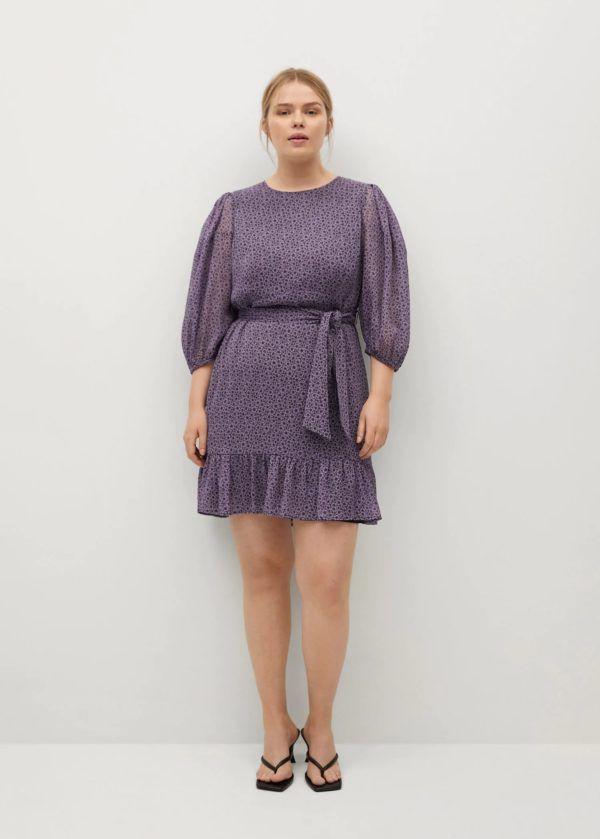 Vestidos de fiesta para gorditas vestido de H&M modelo midi manga abullonada estampado