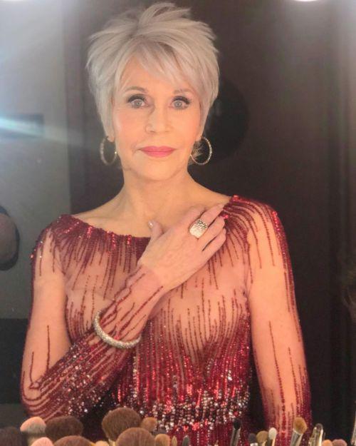 Jane Fonda corte de pelo bob con flequillo + de 50