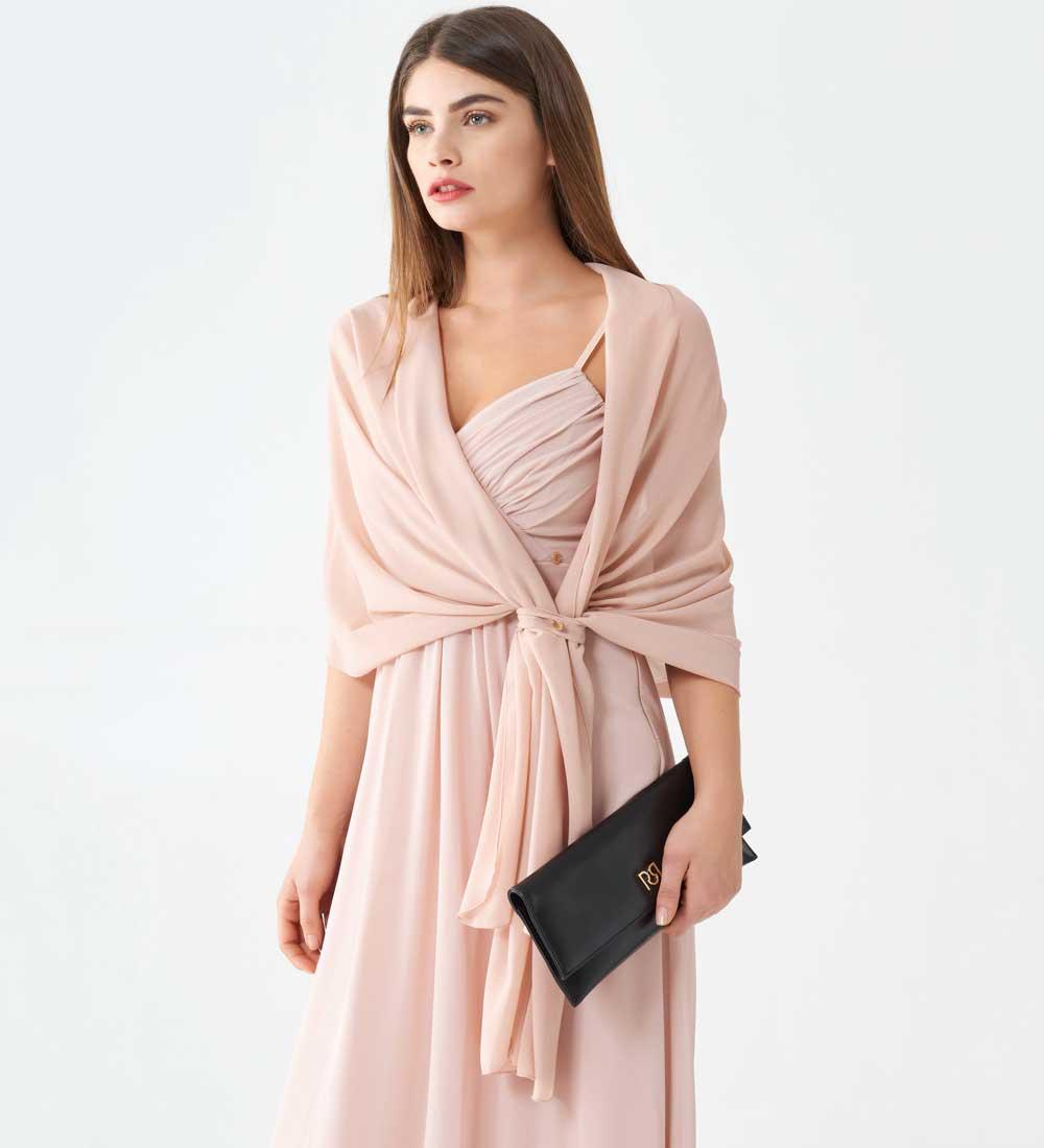vestido de corte imperio en rosa palo