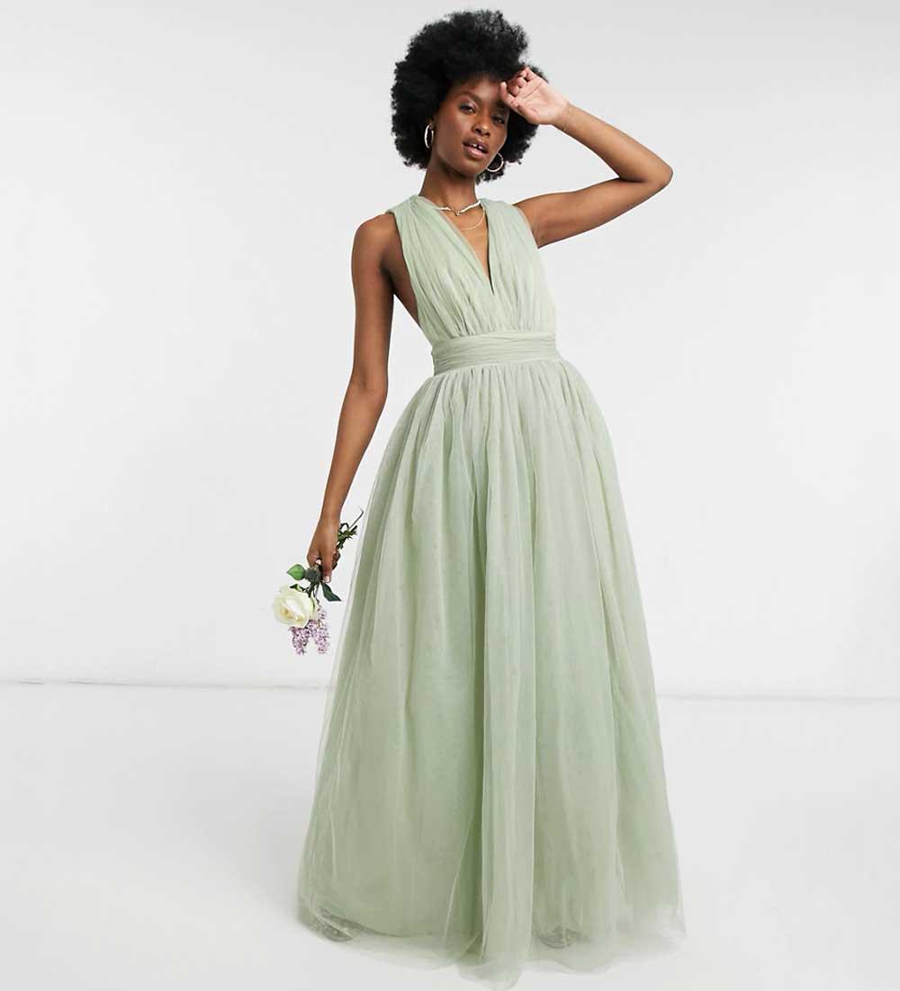 vestido de tul en color pastel