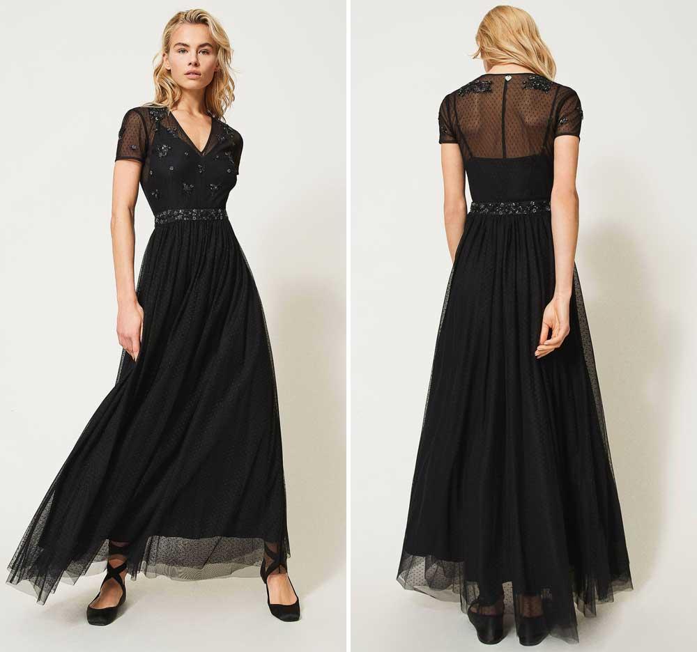 maxi vestido de tul negro