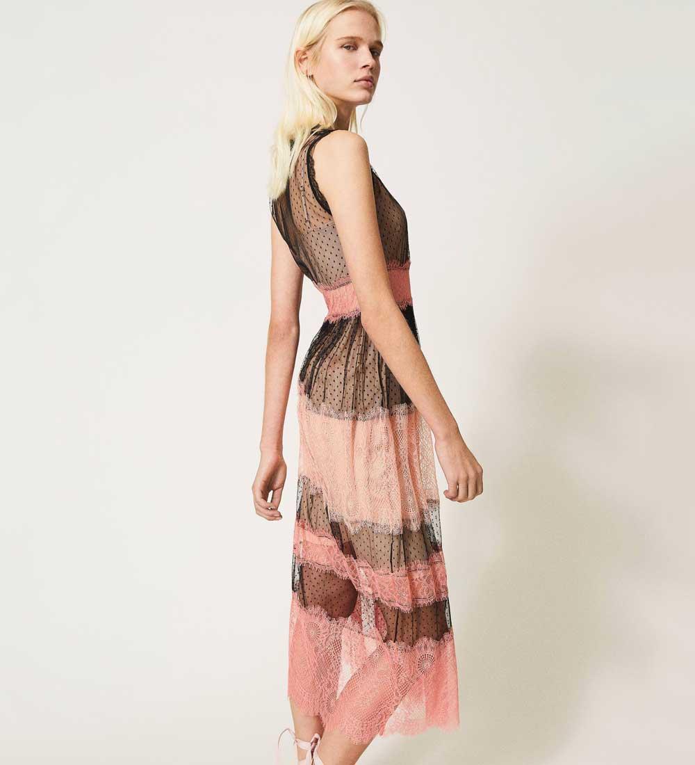 vestido largo de tul y encaje
