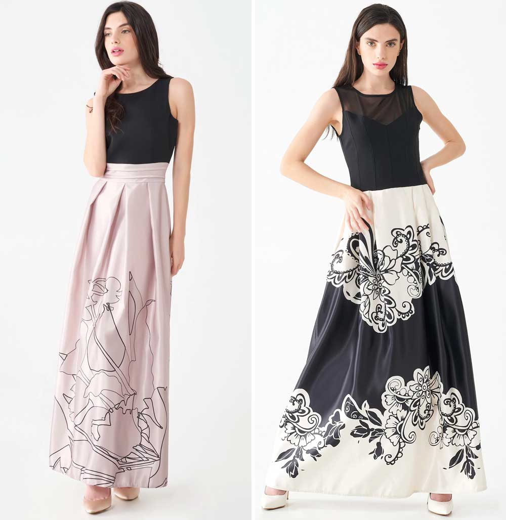vestido imperio con falda amplia