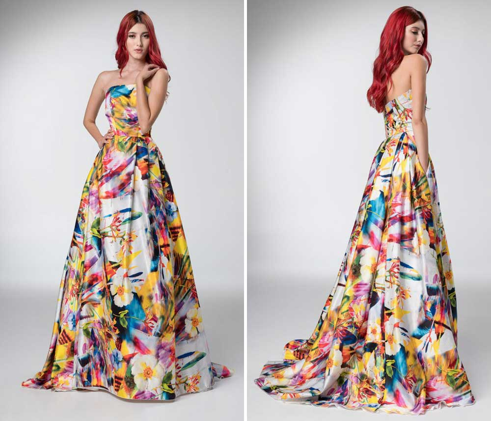 maxi vestido multicolor con cola