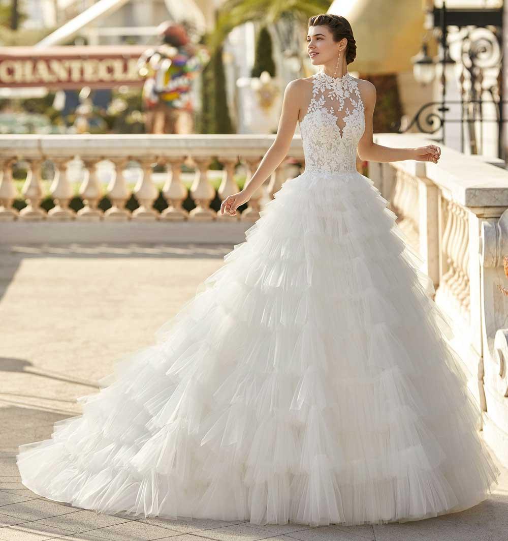 vestido de novia blanco con volantes