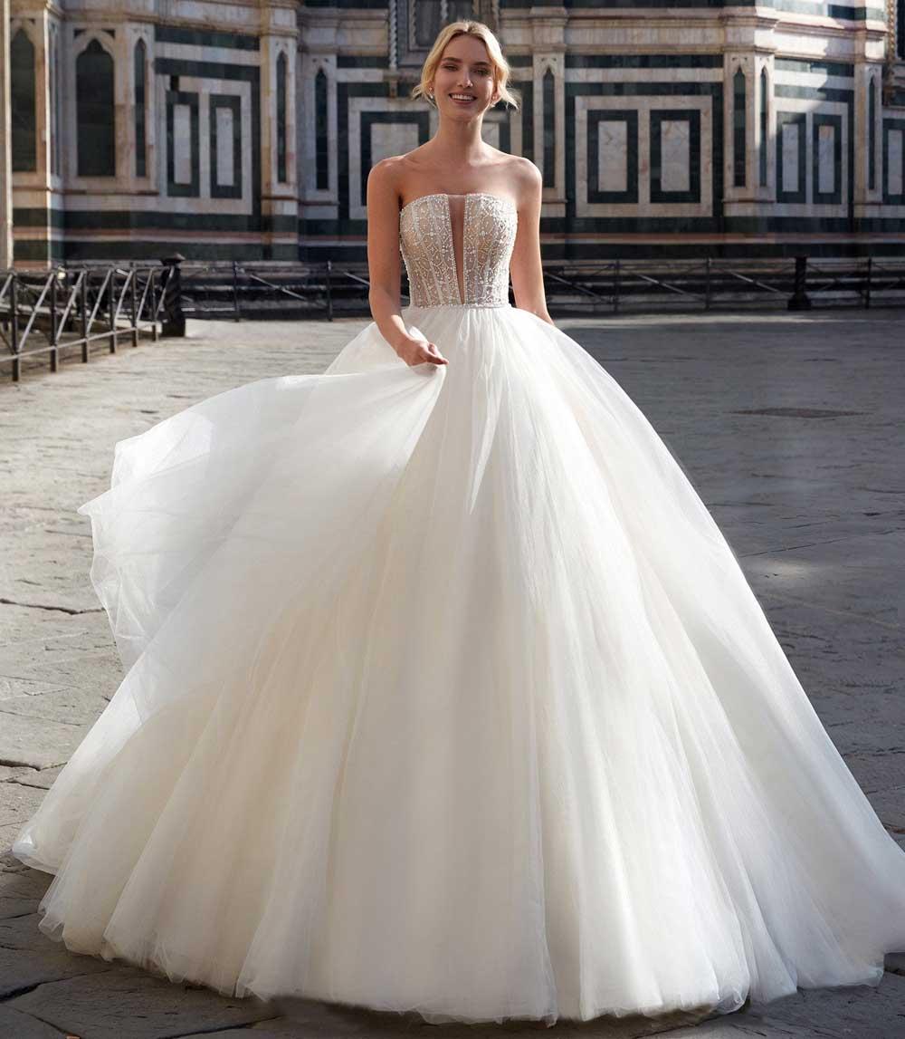 maxi vestido de novia con pedrería