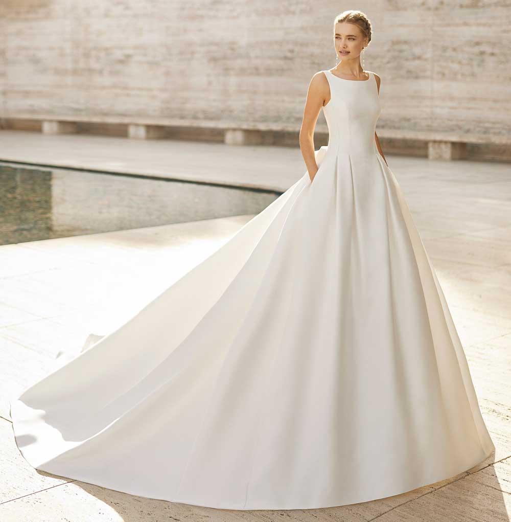 vestido de novia de seda blanca