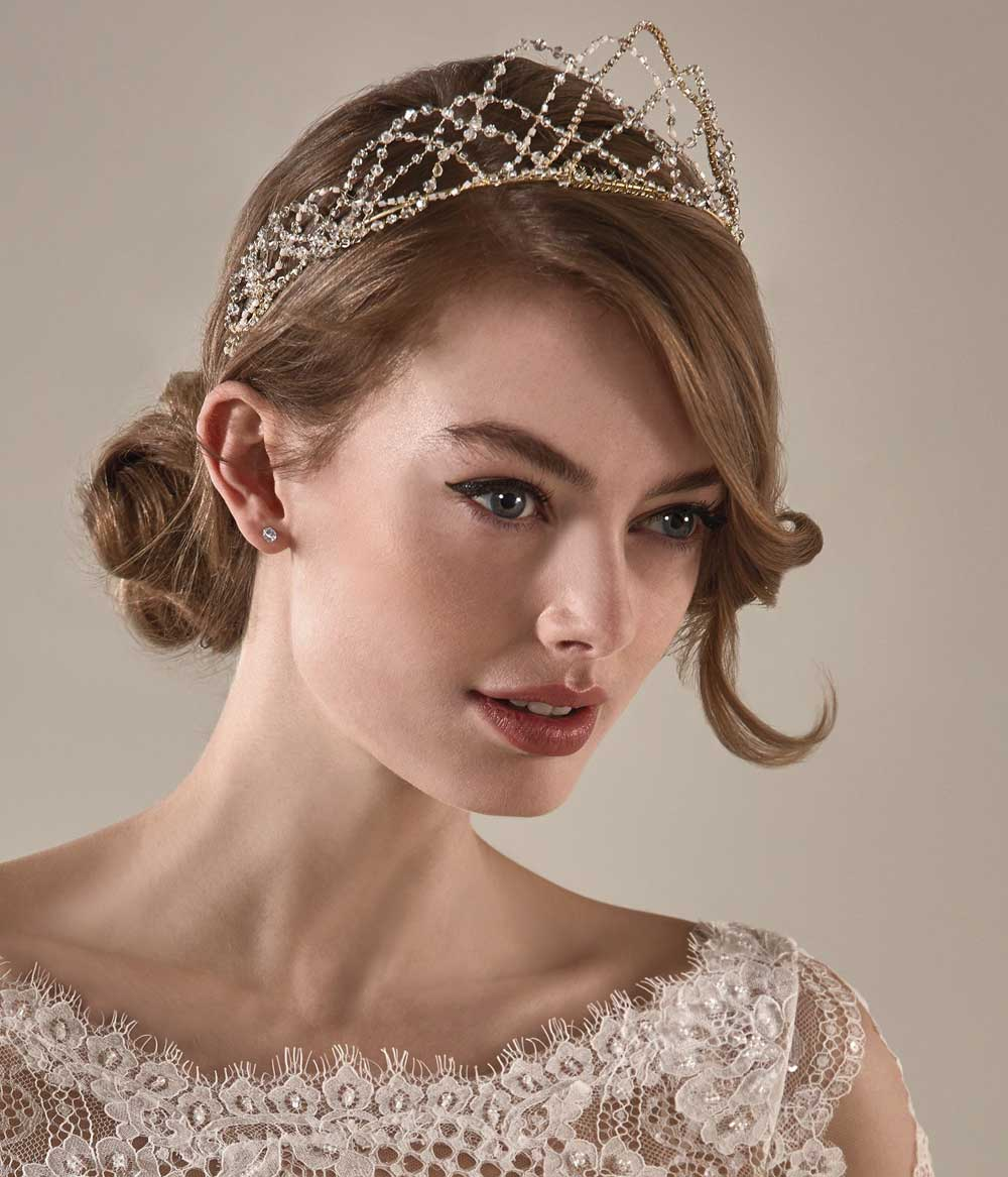 tiara de novia dorada