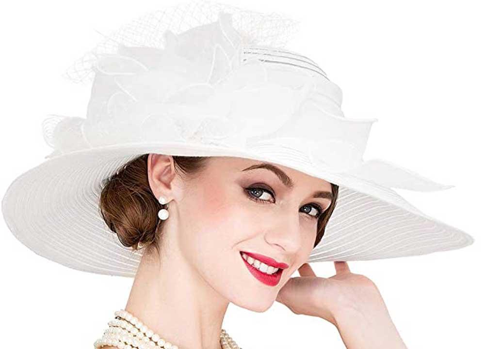 sombrero de novia de organza