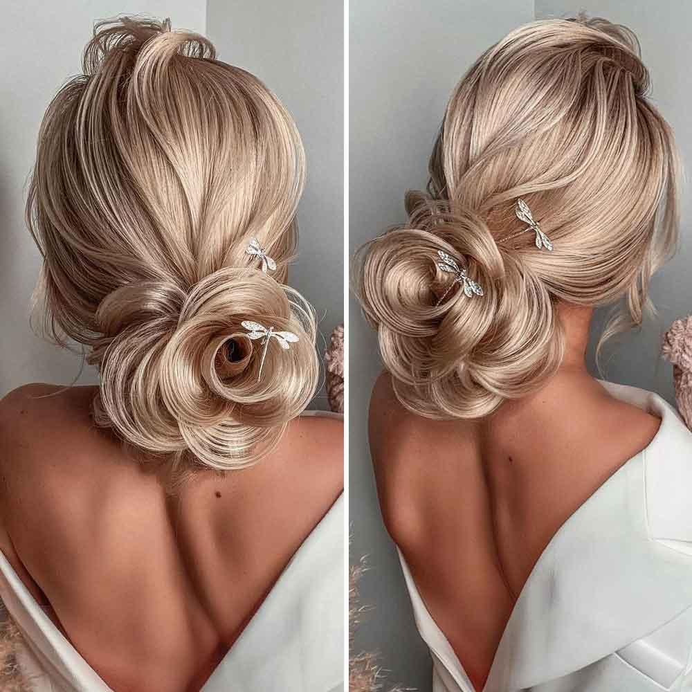 Peinados con rosas de pelo largo