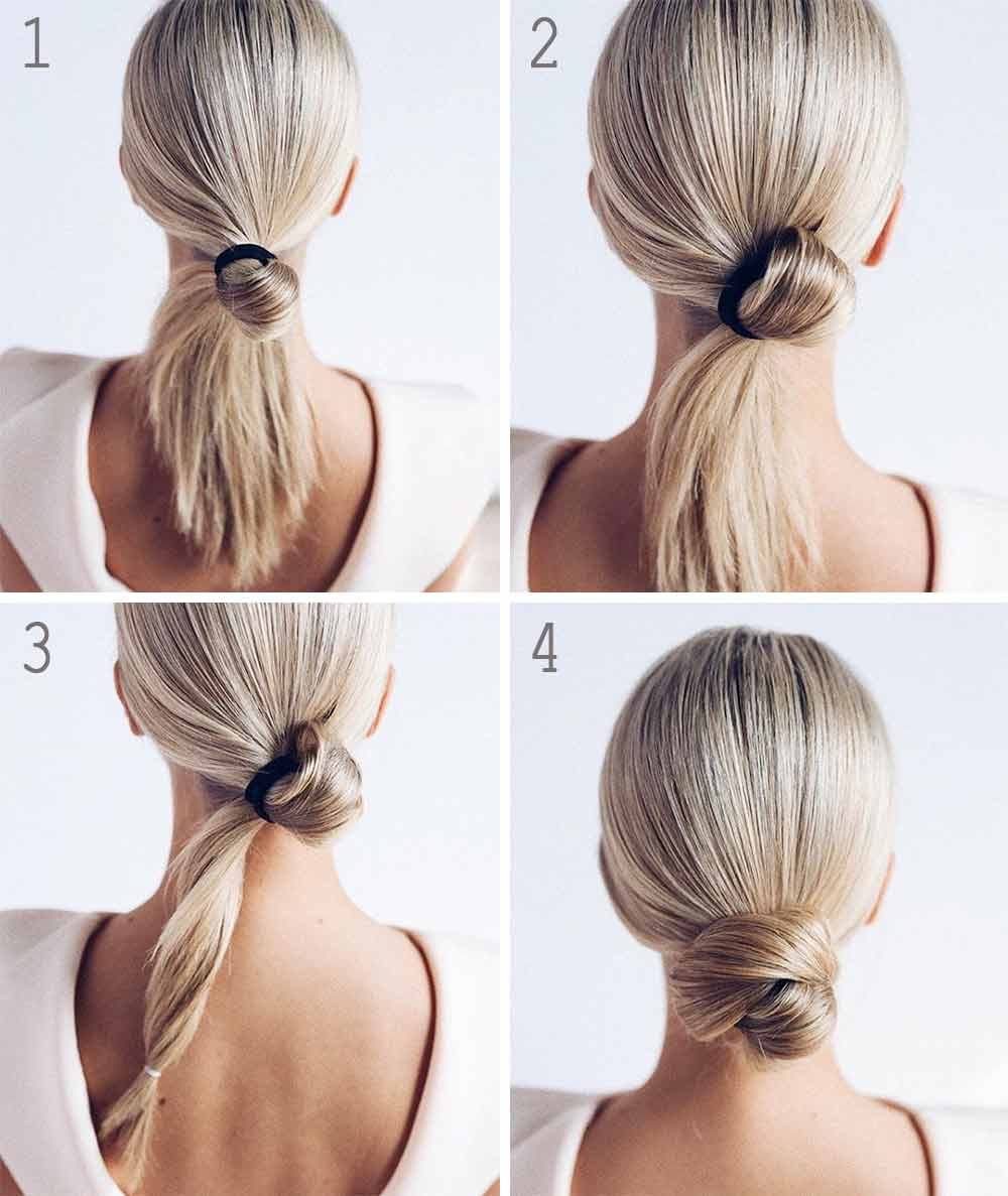 Peinado sencillo pelo largo y liso recogido