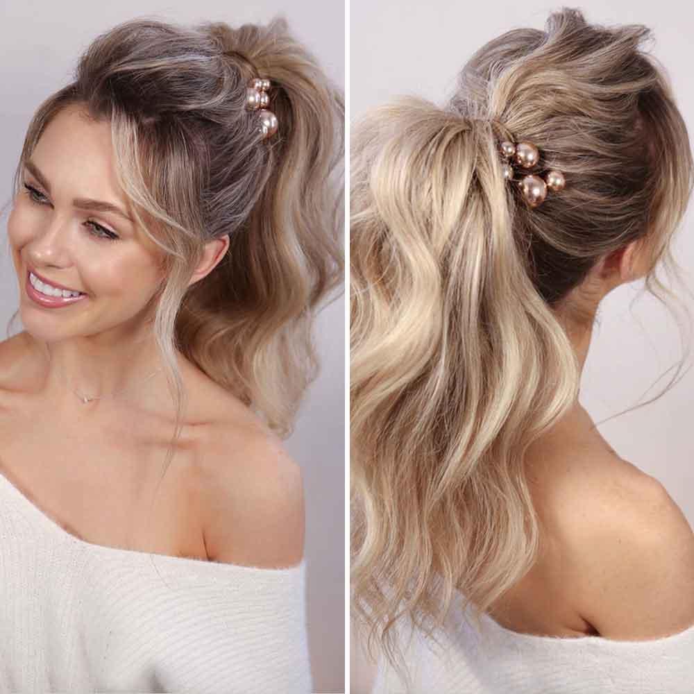 Peinado de cola alta suave