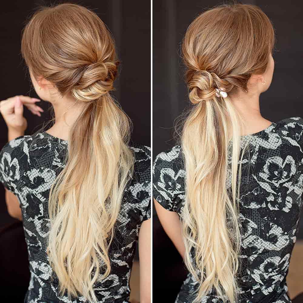 Peinado sencillo y elegante con pelo largo