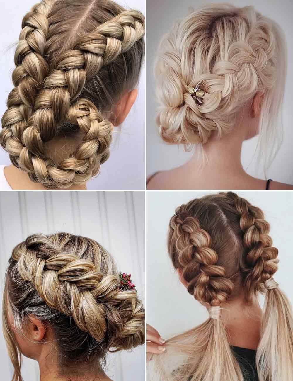 Peinados de pelo largo con trenza elevada