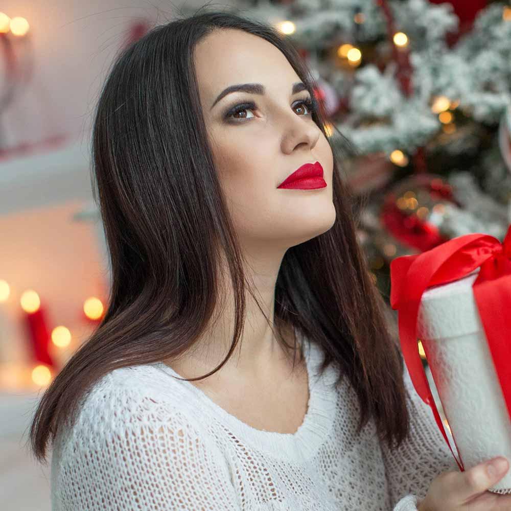 Pelo largo y liso Navidad