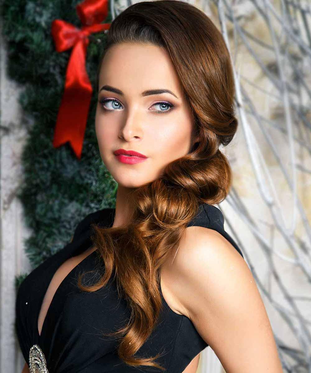 Pelo ondulado peinados de rizos de Navidad