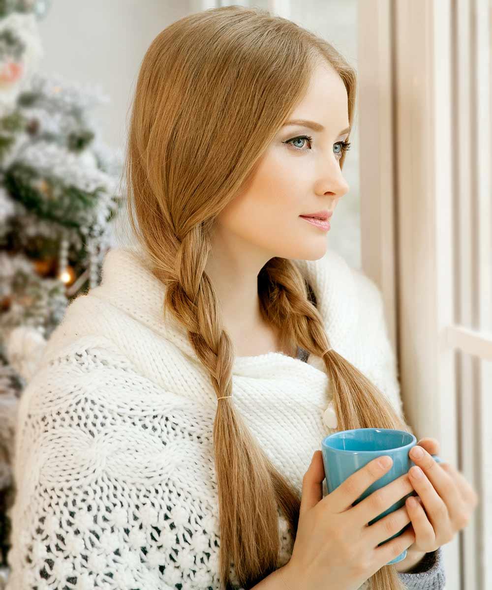 Peinado de trenza de Navidad sencillo