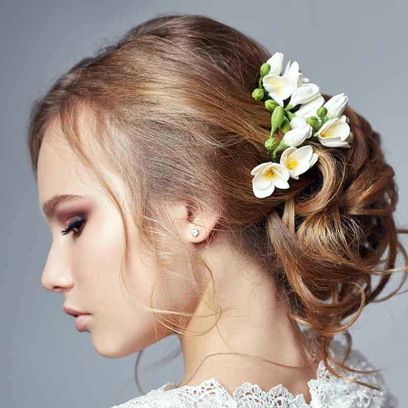Peinado de novia de corte suave fiori