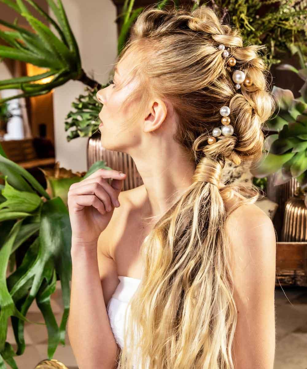 Peinados de novia con perlas 2021