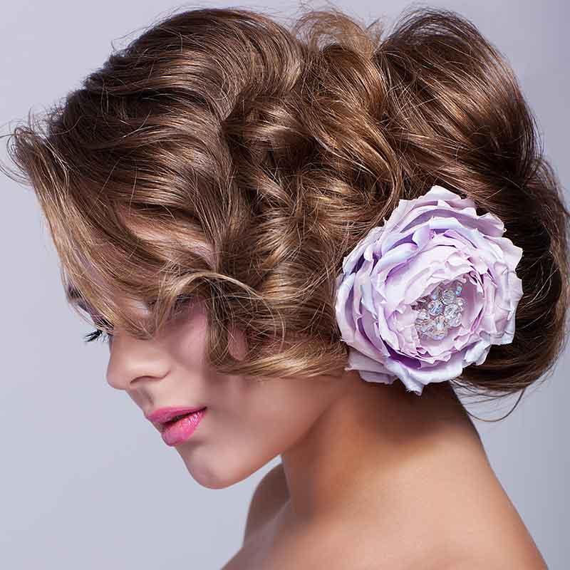 Peinado de novia cosecha peonía