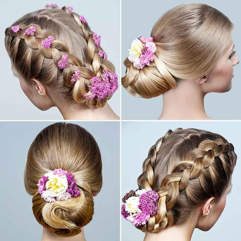 Peinado trenza moño flores novia