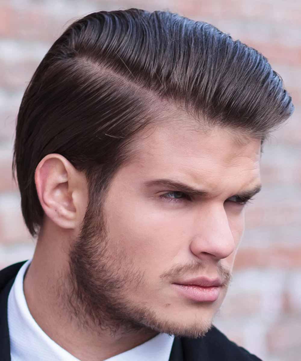 Hombre con raya en el pelo corto