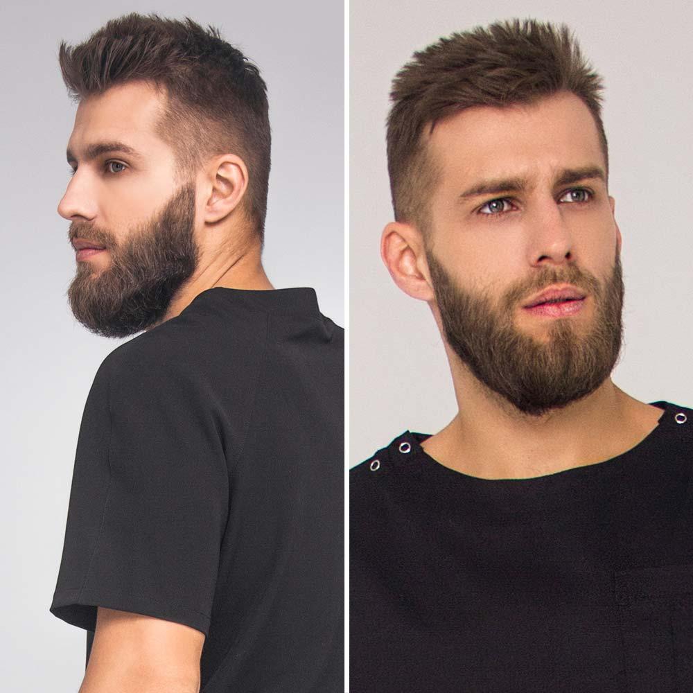 Hombre de pelo corto corta la barba
