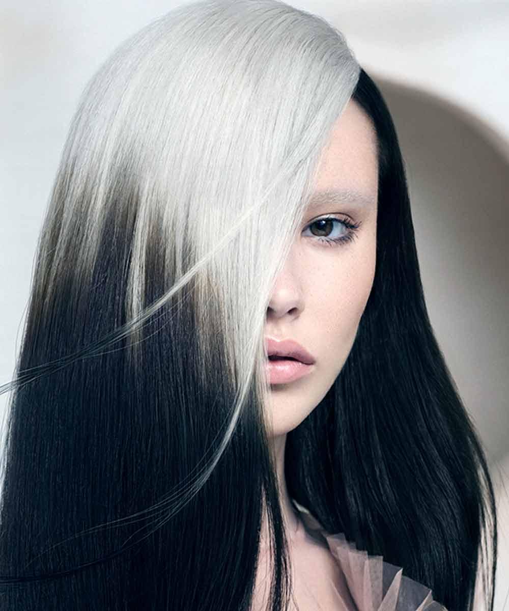 Bloque de color de pelo negro platino 2021